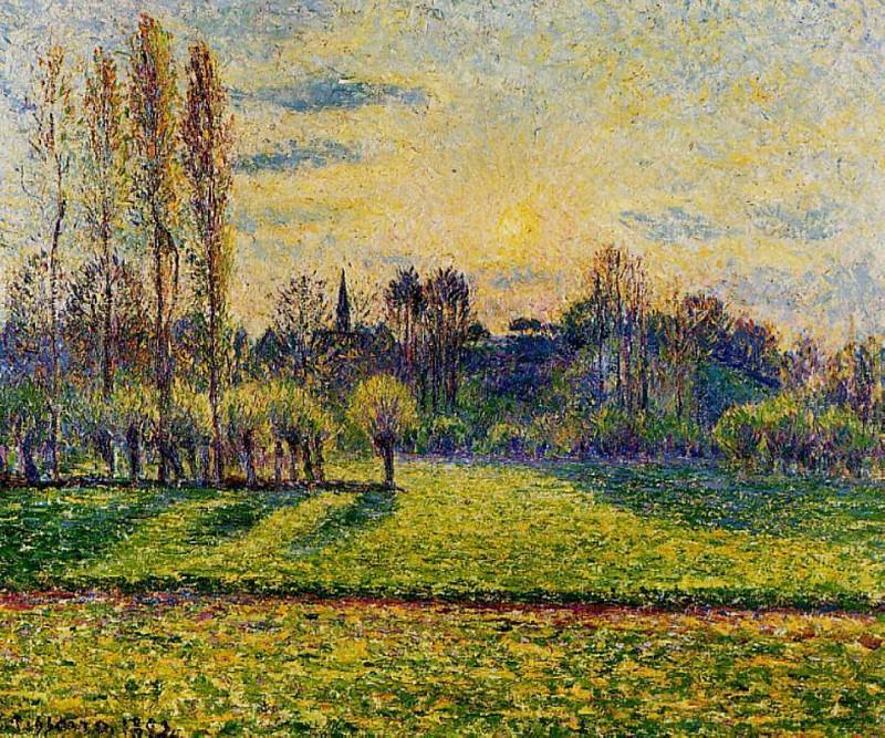 View of Bazincourt, Sunset. (1892). Camille Pissarro