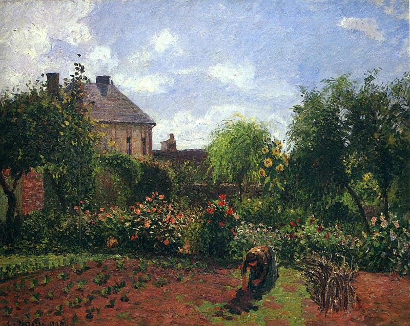 Working in the Garden. Camille Pissarro