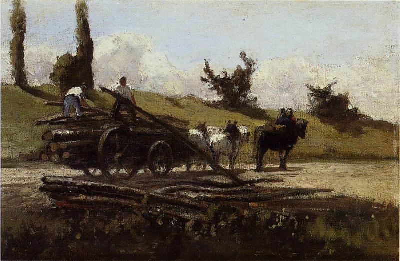 The Wood Cart. (1863). Camille Pissarro