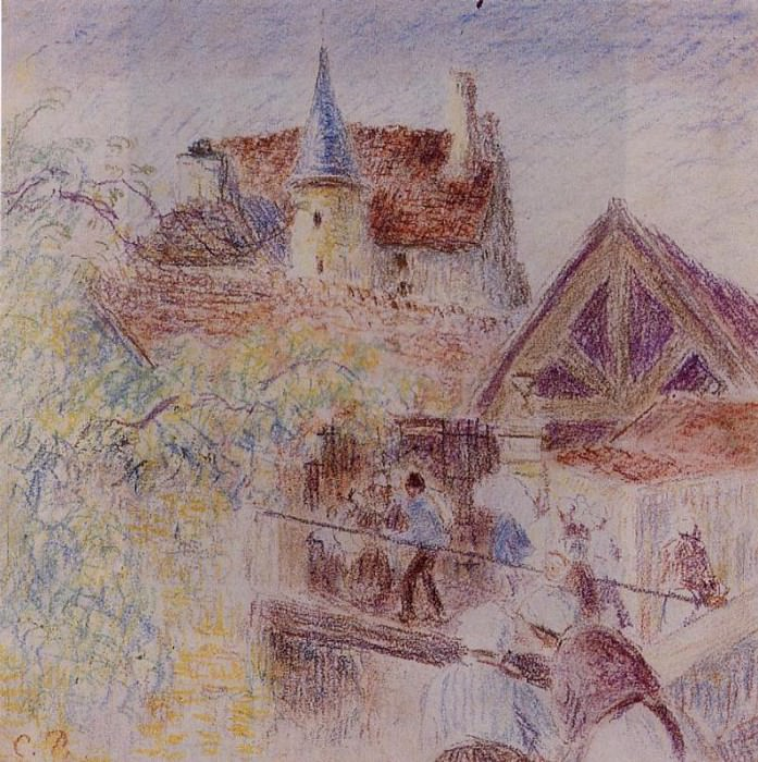 The Farm, Osny. (1884). Camille Pissarro