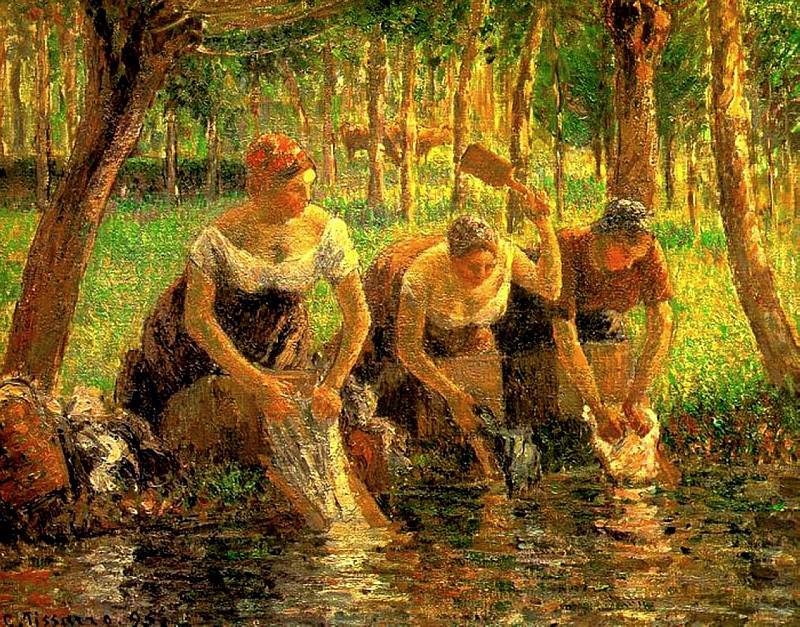 Laundring Women. Eragny-sur-Eptes. (1895). Camille Pissarro