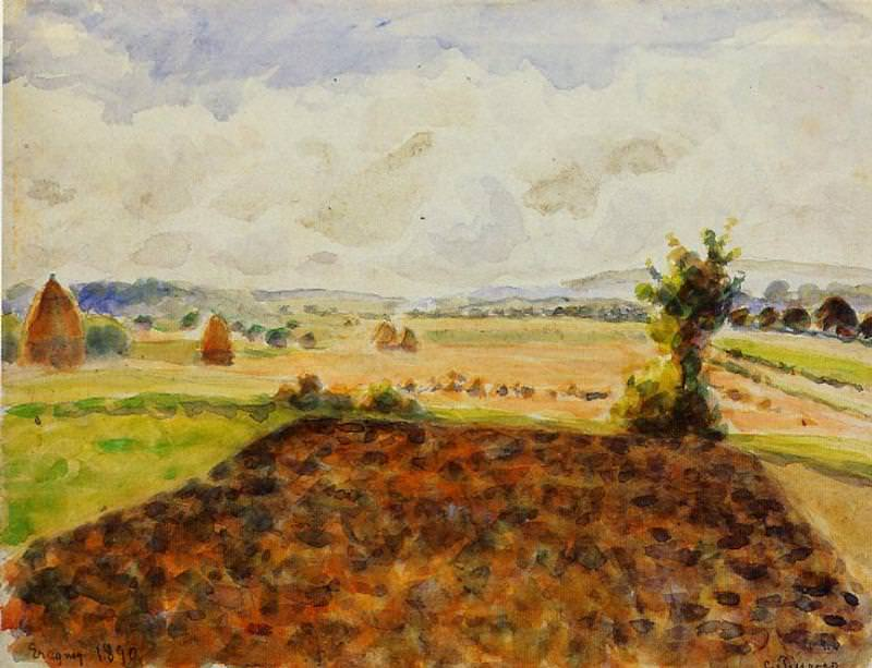 Landscape at Eragny, Clear Weather. (1890). Camille Pissarro