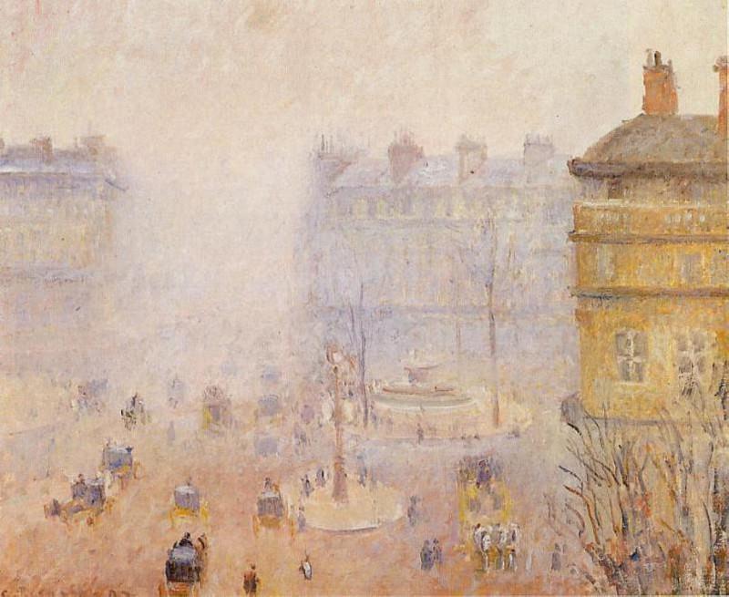 Place du Theatre Francais - Foggy Weather. (1898). Camille Pissarro