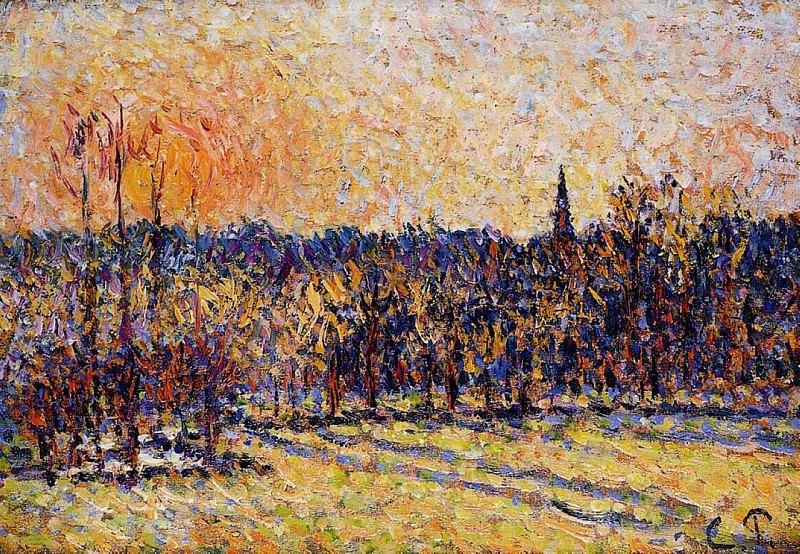 Sunset, Bazincourt Steeple. (1890). Camille Pissarro