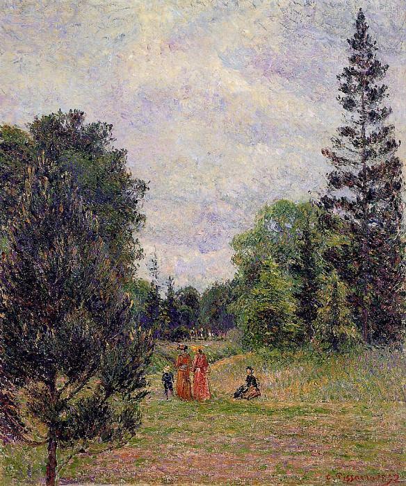 Сады в Кью, скрещенья тропинок у пруда (1892). Камиль Писсарро