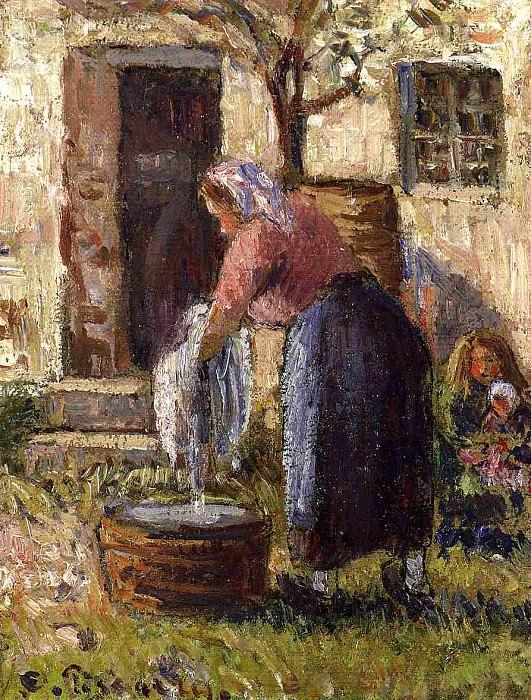 Стирающая женщина (1898). Камиль Писсарро