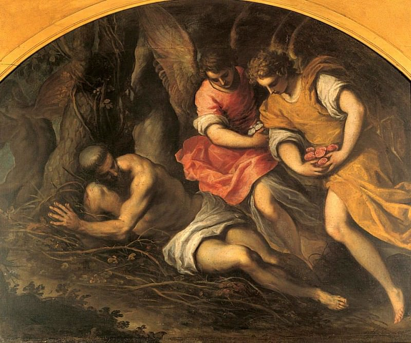 Penitent Saint Francis, consoled by two angels. Palma il Giovane (Jacopo Negretti)