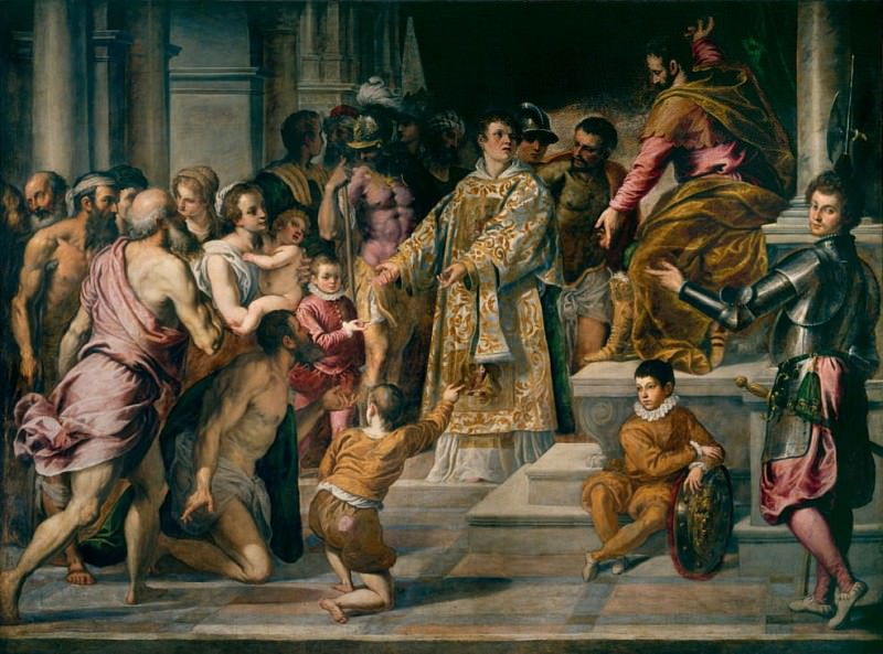 St Lawrence giving out alms. Palma il Giovane (Jacopo Negretti)