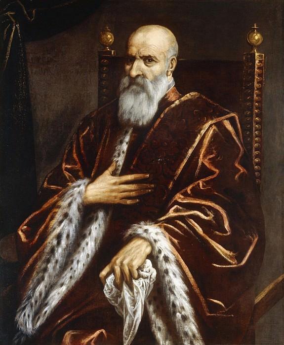 Portrait of a Venetian Senator, seated three-quarter length, wearing a Red Velvet Cloak. Palma il Giovane (Jacopo Negretti)