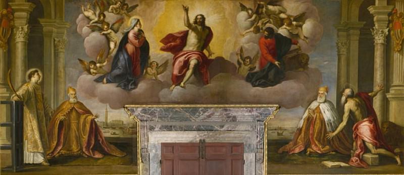 The Doges Lorenzo Priuli and Girolamo Priuli praying before the Saviour. Palma il Giovane (Jacopo Negretti)