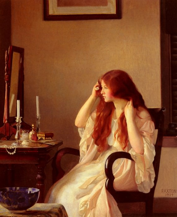 Girl Combing Her Hair. William Paxton
