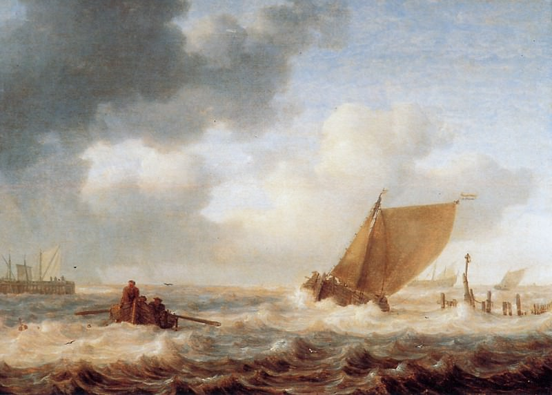 River branch with ships in choppy weather. Jan Porcellis