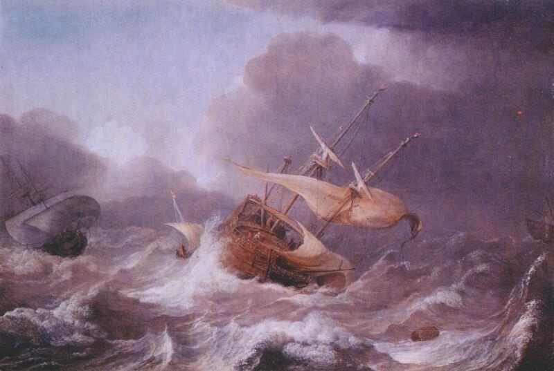dutch ships in a gale c1620. Jan Porcellis