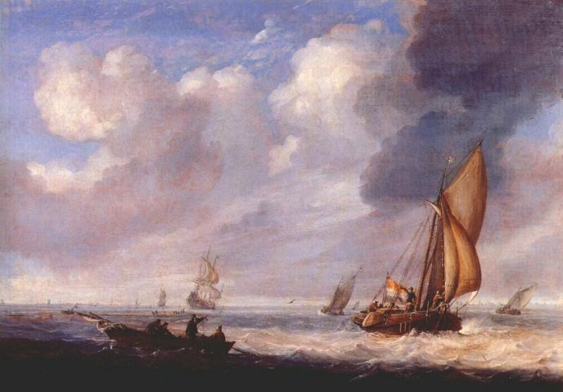 single-master and rowing-boat in light breeze c-late-1640s. Jan Porcellis