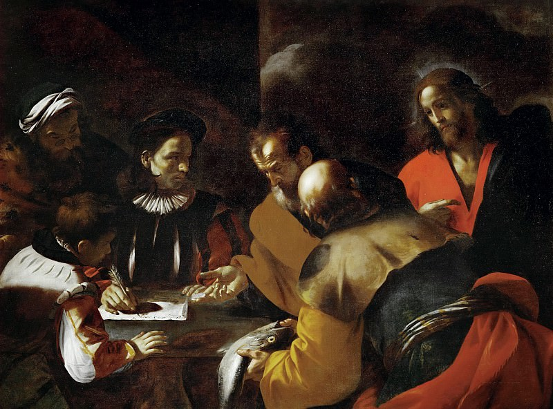 St Peter is paying the temple tax with the coin from the fish's mouth. Mattia Preti