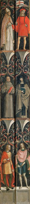 Two Pilasters with Saint Sebastian, a Holy Monk, and Saint Vescovo (left) and St Roch, St Monaca, and Unidentified Saint (right). Vincenzo Pagani