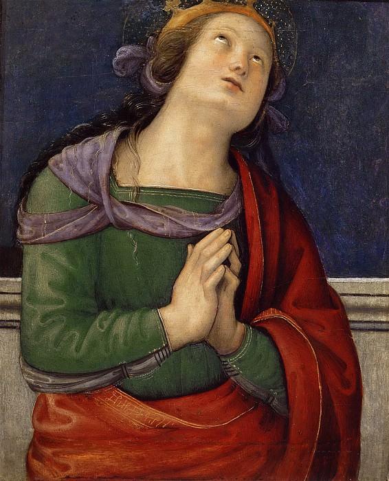 Polyptych for S. Pietro in Perugia, predella - Saint Flavia. Pietro Perugino