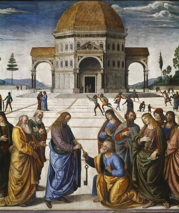 Christ Giving the Keys to Saint Peter (detail). Pietro Perugino