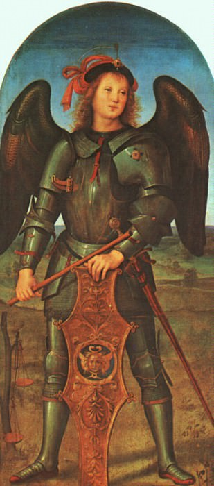 St. Michael (Panel of the Polytych of Certosa di Pavia) c1499. Pietro Perugino