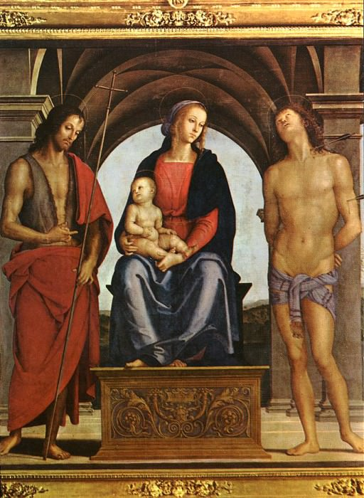 The Madonna between St. John the Baptist and St. Sebastian 1493. Pietro Perugino