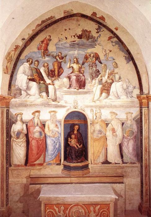 Trinity and Six Saints 1521. Pietro Perugino