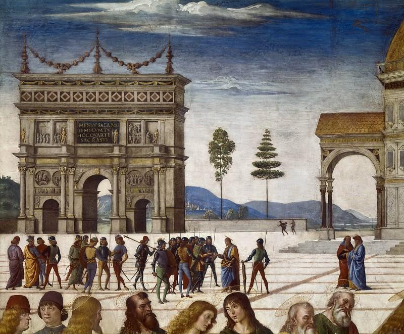 Christ Giving the Keys to Saint Peter (detail). Pietro Perugino