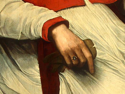 КАРДИНАЛ БАНДИНЕЛЛО САУЛИ, ЕГО СЕКРЕТАРЬ И... (фрагмент). Себастьяно дель Пьомбо