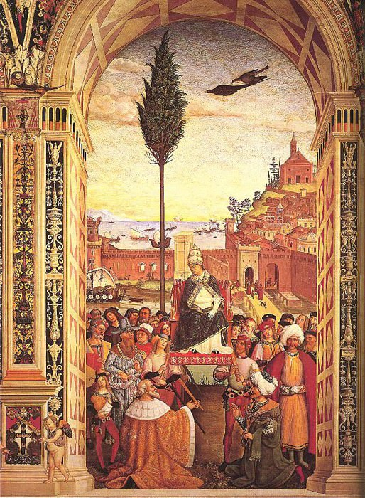 Aeneas Piccolomini Arrives To Ancona. Pinturicchio (Bernardino di Betto)
