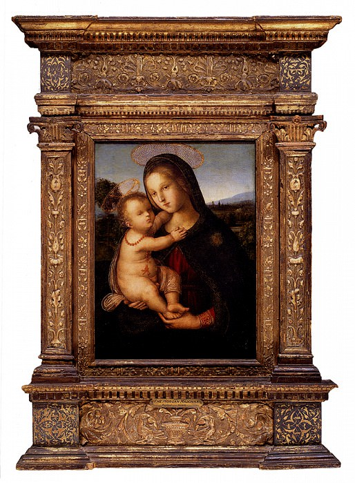The Madonna And Child Before A Landscape. Pinturicchio (Bernardino di Betto)