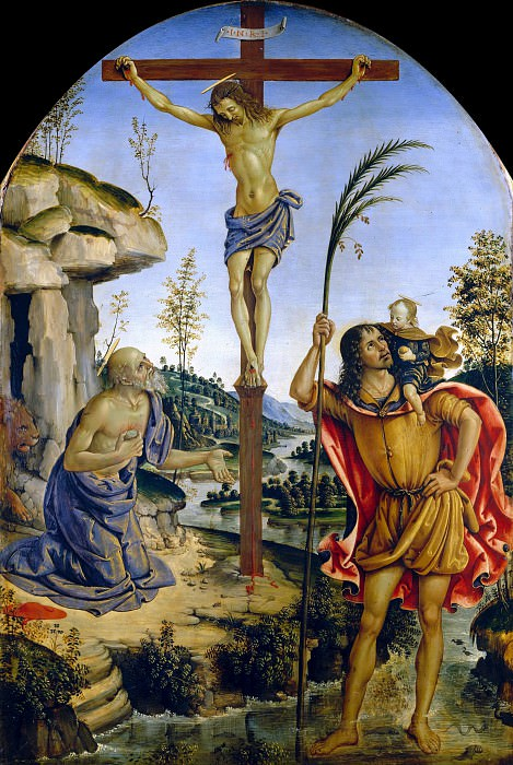 Christ Crucified between Saints Jerome and Christopher in a Landscape. Pinturicchio (Bernardino di Betto)