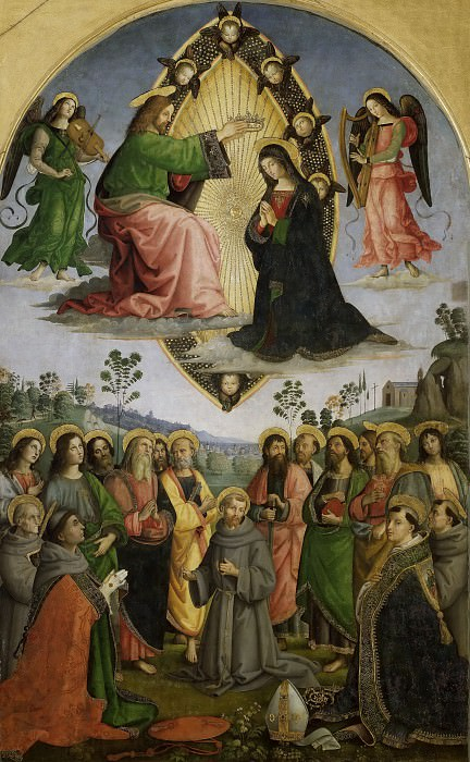Coronation Virgin with Apostles and St Francis Assisi, Bernardino, Antony Padua, Louis Toulouse, Bonaventure. Pinturicchio (Bernardino di Betto)