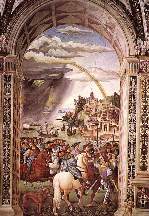 Aeneas Piccolomini Leaves For The Council Of Basle. Pinturicchio (Bernardino di Betto)