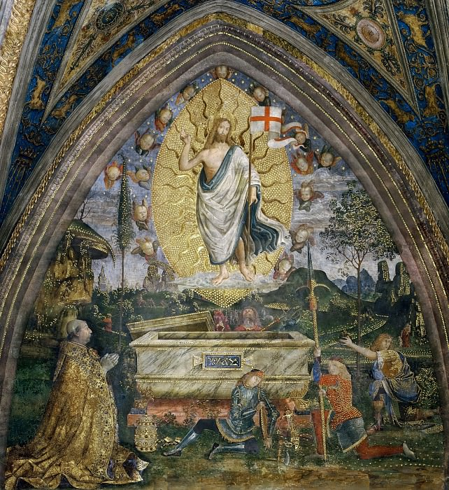 Resurrection with Pope Alexander VI Borgia. Pinturicchio (Bernardino di Betto)