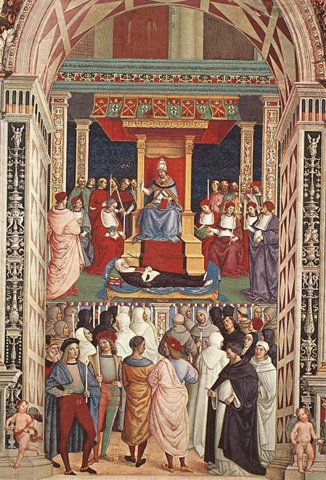 Pope Aeneas Piccolomini Canonizes Catherine Of Siena. Pinturicchio (Bernardino di Betto)