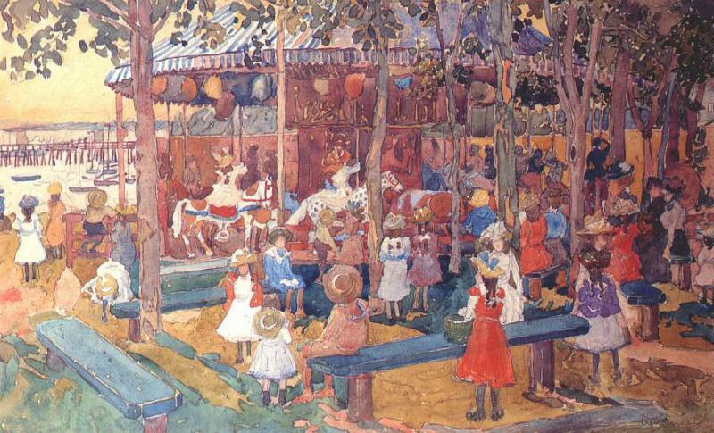 Летающие лошадки, ок.1901. Морис Брэзил Прендергаст