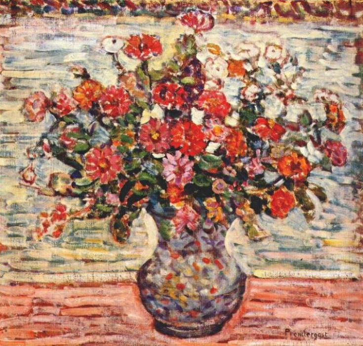 prendergast flowers in a vase c1917. Maurice Prendergast