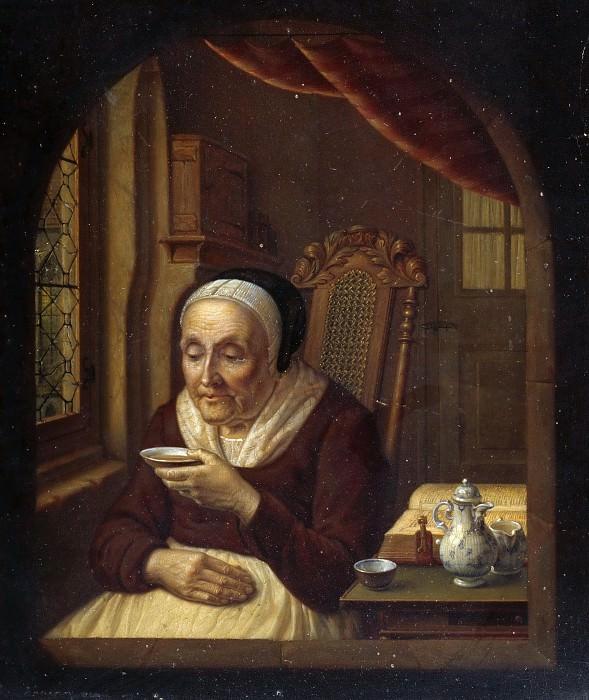 Old woman having coffee. Eduard Karl Gustav Lebrecht Pistorius