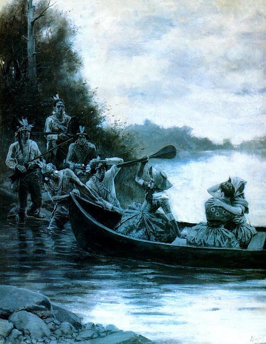 Пленение Элизабет и Френсис Коллоуэй и Джемимы Бун, ок.1887. Говард Пайл