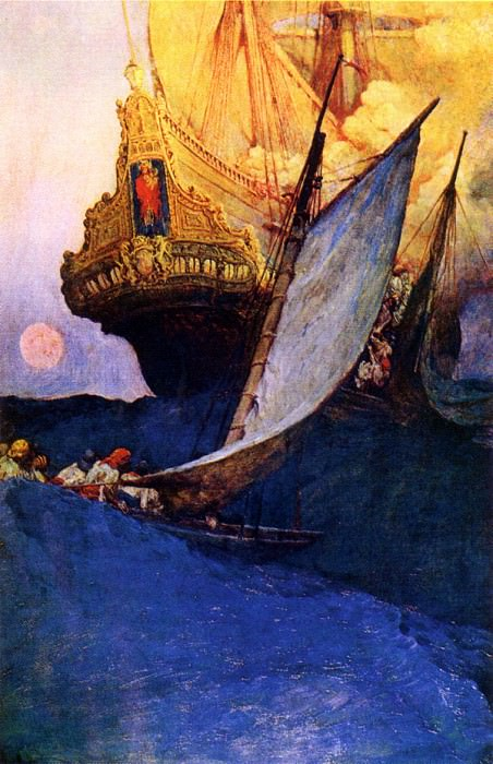 Attack on a Galleon 1905. Howard Pyle