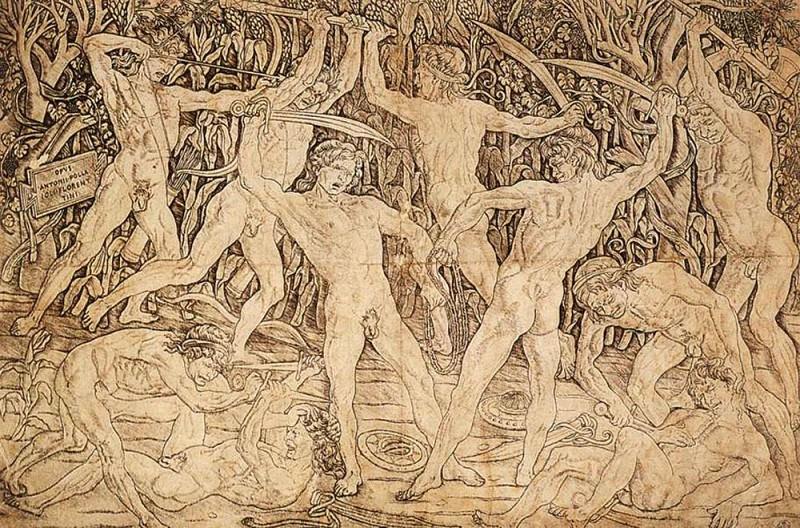 Сражение десяти обнаженных. Антонио дель Поллайоло