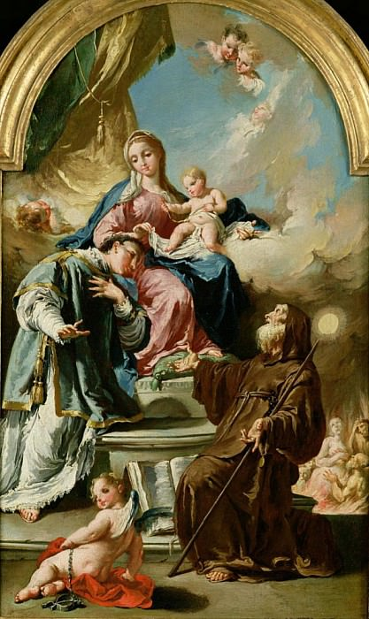Madonna and Child Enthroned with St. Leonard and St. Francis of Paola. Giovanni Battista Pittoni
