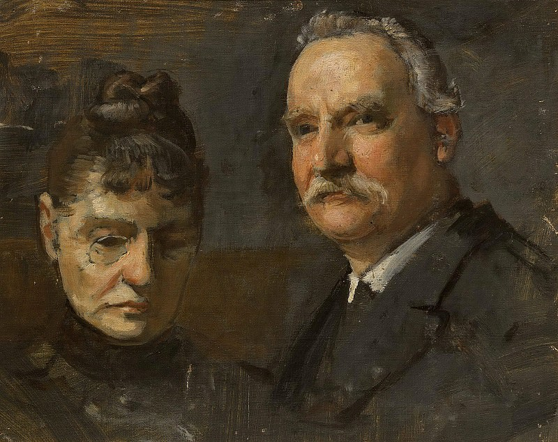 Sketch for portrait of unknown man and unknown woman. Edvard Perséus