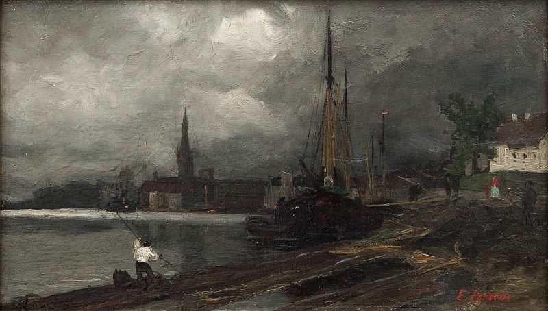 City view with harbor. Study. Edvard Perséus