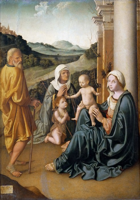 Holy Family with Saint Elizabeth and the Infant Saint John. Marco Palmezzano