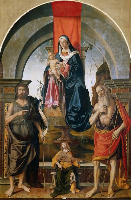 Virgin and Child Enthroned between Saints John the Baptist and Jerome. Marco Palmezzano