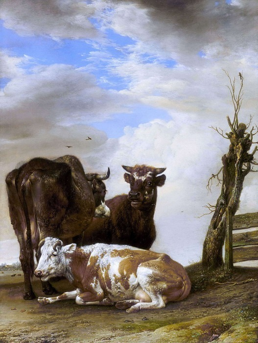 Two cows and a bull beside a fence. Paulus Potter