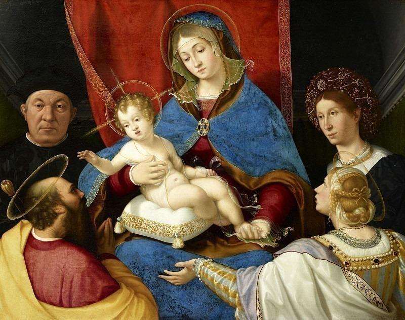 Мадонна с младенцем, святые Павел и Агнес с донаторами Паоло и Аньезе Кассотти (Мадонна Кассотти). Андреа Превитали (Кордельяги)