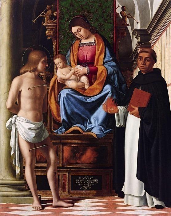 Мадонна с младенцем на троне между святыми Себастьяном и Винченцо Феррер (или Томмазо д'Акуино). Андреа Превитали (Кордельяги)