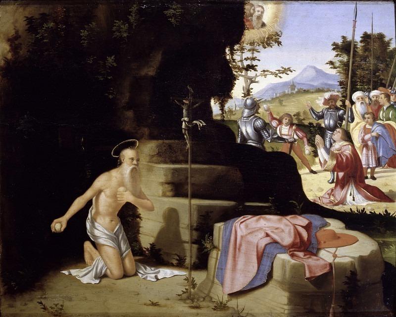 Святой Иероним кающийся в пустыне и избиение камнями святого Стефана. Андреа Превитали (Кордельяги)