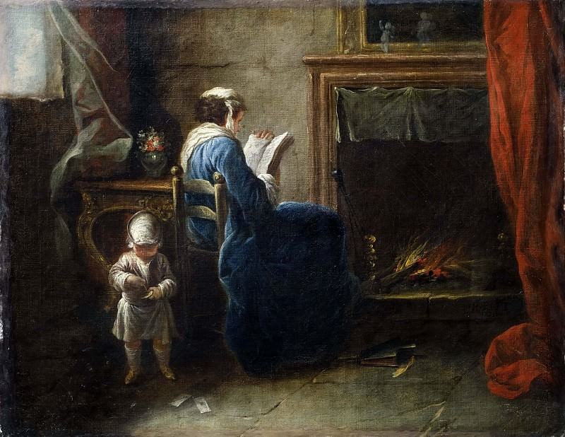 Woman Reading in front of a Fireplace. Pierre Parrocel